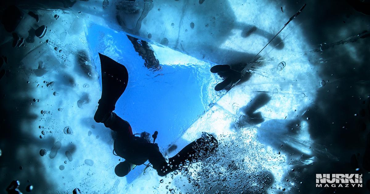 Nurkowanie pod lodem ice diving Polska Jezioro Hańcza