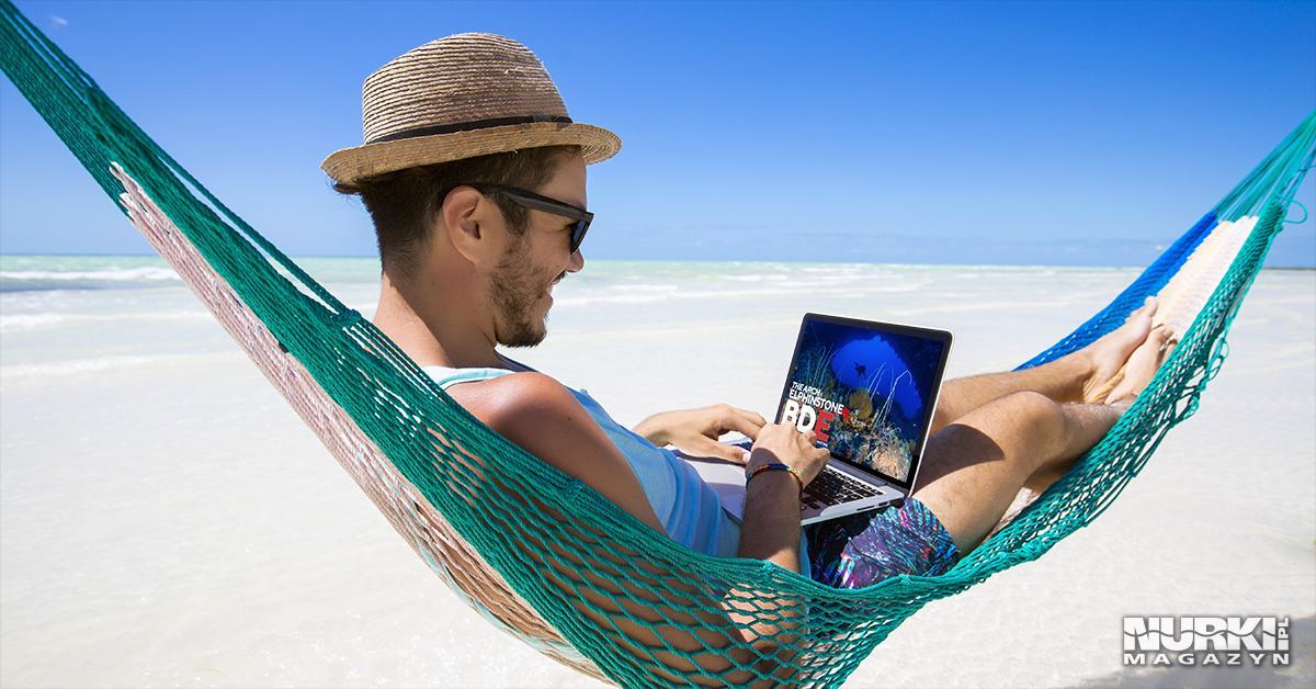 Magazyn Nurki.pl numer 3 Egipt Morze Czerwone Trasa BDE Elphinstone Plaża Nurkowanie techniczne wrak hamak plaza facet w kapeluszu